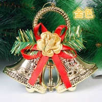 Christmas decoration clock exquisite christmas tree decoration clock bell double accessories gold and silver