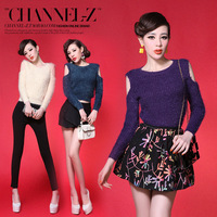 Channel-z crus autumn and winter fashion sexy strapless slim multi-color mohair sweater