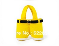50pcs Wholesale Lovely Christmas Santas Pants Bag Filler Decoration Children Yellow Candy Bags Box Gifts 18*15cm,Free shipping