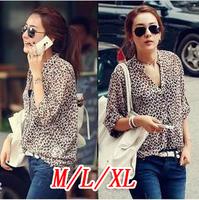 Casual sunscreen chiffon Leopard blouse new fashion 2014 summer autumn sexy print blouse shirt women xxl 3xl 4xl 5xl plus size