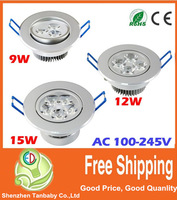 9W 12W 15W Ceiling downlight LED lamp Recessed Cabinet wall Bulb 85V-245V for home living room illumination 3pcs/lot
