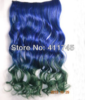Top fashion New  Rainbow Women Hair Extensions Curl Synthetic Clip in on Double color gradient free shipping