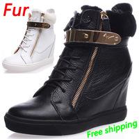 Winter Fur GZ  Punk Genuine Leather Wedge Sneakers,Street Fashion Serpentine Shoes,EU35-41,Heel 7cm,Women Shoes,Free Shipping