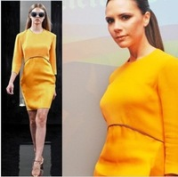 2 color Victoria Beckham brand design dress yellow patchwork three quarter sleeve o-neck women dress
