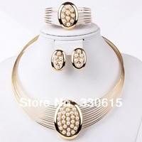 2014 new arrival Dubai 18K Gold Plated  Fashion Wedding women Bridal accessories african gold plating costume jewelry set