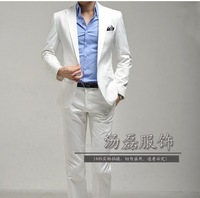 Slim men's clothing formal dress white wool male formal dress costume