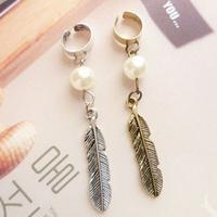 Free Shipping Vintage Antique Pear Leaf Feather Pendant  Women Punk Retro Ear Clip Wholesale 24pcs/lot