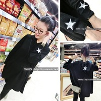 Free Shipping RU Womens 2516 2013 g paragraph cloak five-pointed star embroidery sweatshirt