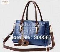 2014 New Fashion women Large Volume Crocodile Vein PU-Leather Handbag Shoulder Bag Messenger Bag/black,red,blue