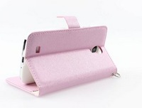 Colorful Natural Silk Flip Wallet Leather Stand Case With Credit Card Slots Protector Cover for Samsung Galaxy S4 IV i9500