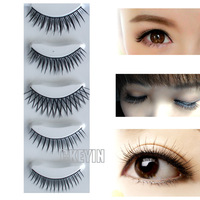 Natural 5 Pairs Pro Fashion Long Black False Eyelashes Beautiful Makeup Fake Eye Lashes with Eyelash Glue 0.25-FE003H