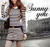 2013 women's fashion o-neck slim medium-long stripe sweater dress sweater female