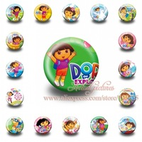 A Set of 18Pcs  Dora Tin Buttons pins badges,30MM,Round Brooch Badge For Children Toy ,Mixed 18 Styles,Kids Party Favor