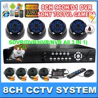 8CH Full D1 1080P HDMI 3G/wifi security DVR  Sony  Super HAD CCD II Effio-E 700TVL  IR camera CCTV camera system with 1000GB HDD