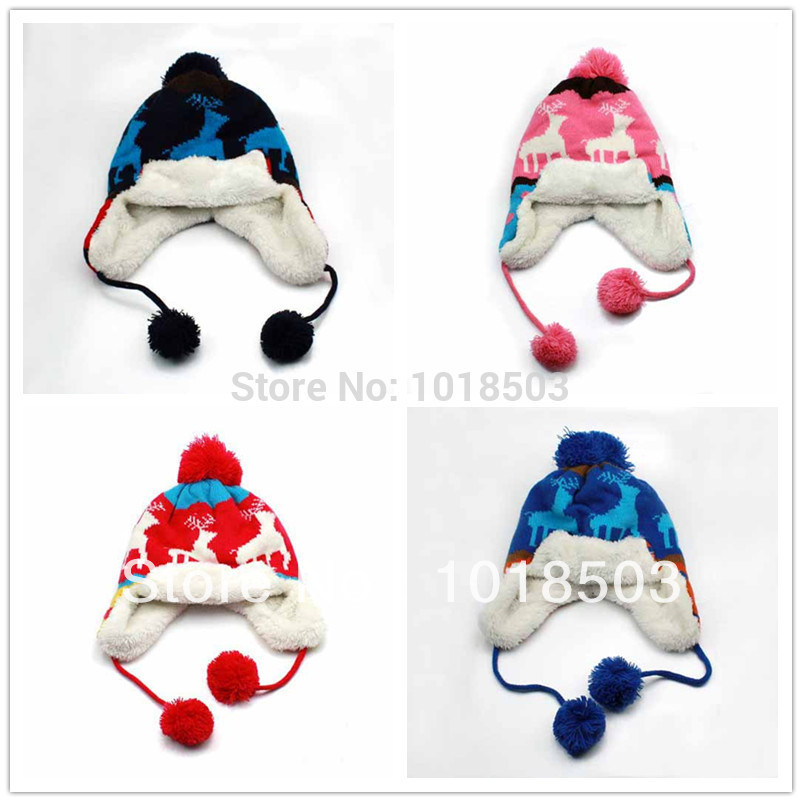 Baby Kids girls boys beanie caps With Elk Ear protection Knitted Hat 6mon-4years Free shipping(China (Mainland))
