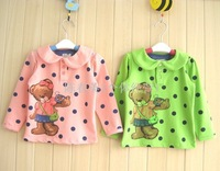 New korea style girls bear t-shirts kids cute long sleeve t shirt baby lovely autumn tees tops wholesale 5pcs/lot