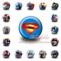 A Set of 18Pcs  Super man Tin Buttons pins badges,30MM,Round Brooch Badge For Children Toy ,Mixed 18 Styles,Kids Party Favor