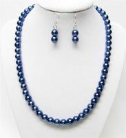 stunning!8mm Blue Sea Shell Pearl Necklace Earring 1Set MY2007