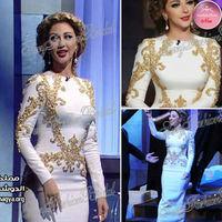 Arabia Sexy Singer Myriam Fares Dresses Round neck With Beaded Mermaid Floor length Chiffon Evening Celebrity Dresses