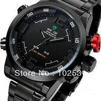 Fast Shipping Luxury Weide New Mens Dual Time Dial LED Digital Quartz Alarm Black Steel Sports Military Army Wrist Watch