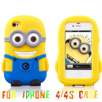 2014 New Despicable Me Cute Minions Case For iphone4 4s High Quality Silicone For iPhone 4 4s Case Free Shipping