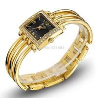 Free Shipping Ladies elegance luxury bracelet wristwatch analog quartz crystal rose gold watch women watch