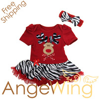 2013 New Arrival Girls Christmas Zebra Dress Short Sleeve Dress + Hairband 2Pcs Set free shipping