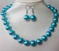"Charming! 14mm blue South Sea Shell Pearl Necklace 18"" MY1275"