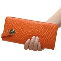 Woman's handbag Partial Genuine Leather Embossed crocodile Clutch Purse Wristlet Wallet holder Clutch Bag free shipping