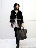 Free shipping Handmade mink knitted fur coat medium-long fight mink fur top 2013