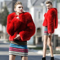 Free shipping Double full leather fox fur coat short design female long-sleeve 2013
