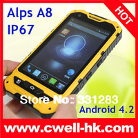 Hot sale ALPS A8 IP67 Android 4.2 MTK6572 Dual Core Dual SIM Card 5.0MP Camera 4.0 Inch IPS Screen Smart Phone