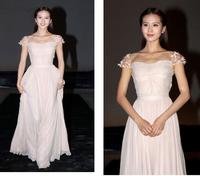 Ctrlstyle 2013 New Arrival Formal Evening Dress Chiffon Long Design Cap Sleeve Celebrity Red Carpet Dress