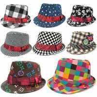 Retail! Autumn Winter 1PC New Style Top Fedora Cap Sun Jazz Hat Canvas Flat For Children Kid Boy Headgear Free Shipping