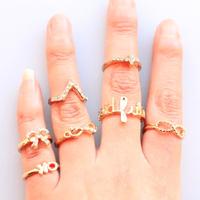 Fashion  Small rings Punk Key cross bow fish Infiniti Ring Set 2 colors Fingernail rings wholesale free shipping
