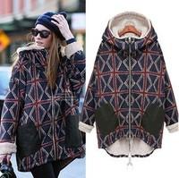 warm winter coat,women winter long coat geometry plaid jacket cotton-padded coat,large fashion winter overcoat women,L0391