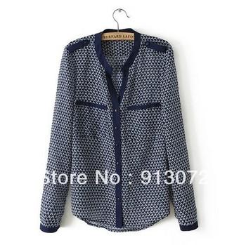 ST945 Новая мода Женская геометрическим рисунком Блузки дамы Офис элегантные футболка ...