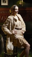 Free shipping 2013 fashion stand collar overcoat marten beige fur coat