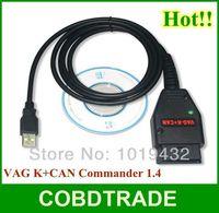 Free Shipping! VAG K+CAN Commander 1.4 Diagnostic via K-Line high quality VAG Comamnder1.4 obd2 cable