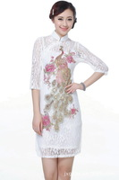 Exquisite Chinese Cheongsam dress in white ,China Style fashion women dress with Embroidery lace E0014