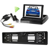 4.3 inch LCD Display Car Monitor + Wireless Waterproof European Car License Plate Frame Rear View Backup Camera