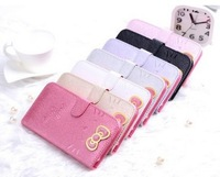 Beuatiful Shell Skin Case 3D Cute Cat Bow-knot Style Flip Wallet Leather Cover for Samsung Galaxy S3 III i9300