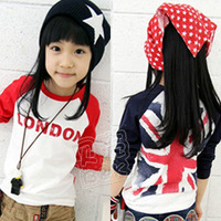 2014 spring and autumn boys and girls clothing long sleeve o-neck torx flag and letters printing T-shirt  blue/red 90-130cm