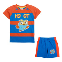 HOT sale and pop!! Free shipping 5 sets/lot 18~6y boy summer clothing sets: stripe nigt owl short t shirt + shorts