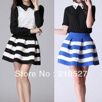 Free Shipping Stripe Shirt European Branded Black/Blue and White Stripe High Waist Elastic Ball Gown Plus Short Skirt for Women