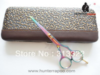 """Free Shipping: 5.5"""" Rainbow Color Beauty Hair Cutting Scissors With Scissors case 440C,Professional Barber Scissor Hair Tools"""