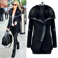 2013 winter autumn and winter slim woolen outerwear rabbit fur overcoat
