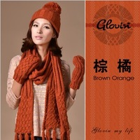 LUXURY SCARVES Knitted Hat Scarf Gloves 3 pcs Winter Set High Quality Long Knitted Scarf Best Gift Free Shipping