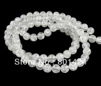 "crackleclear  quartz  beads A quality.15.5""one  string  free shipping(Mixed mini order 10usd)"
