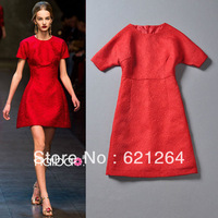 New Arrival Spring 2014 Women Red Butterfly Print Jacquard Cotton Dress